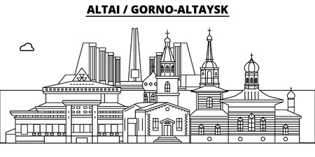 Russia, Altai, Gorno-Altaysk. City skyline: architecture, buildings, streets, silhouette, landscape, panorama, landmarks. Editable strokes. Flat design line vector, illustration concept. Isolated icons
