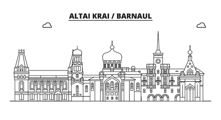 Russia, Altai Krai, Barnaul. City skyline: architecture, buildings, streets, silhouette, landscape, panorama, landmarks. Editable strokes. Flat design, line vector illustration concept. Isolated icons