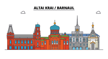 Russia, Altai Krai, Barnaul. City skyline: architecture, buildings, streets, silhouette, landscape, panorama. Flat line vector illustration. Russia, Altai Krai, Barnaul outline design.