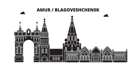Russia, Amur, Blagoveshchensk. City skyline: architecture, buildings, streets, silhouette, landscape, panorama. Flat line vector illustration. Russia, Amur, Blagoveshchensk outline design.