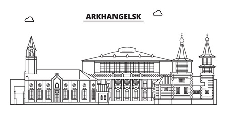 Russia, Arkhangelsk. City skyline: architecture, buildings, streets, silhouette, landscape, panorama, landmarks. Editable strokes. Flat design, line vector illustration concept. Isolated icons