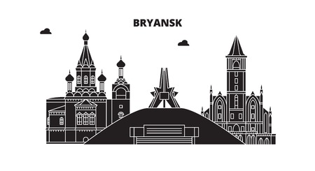 Russia, Bryansk. City skyline: architecture, buildings, streets, silhouette, landscape, panorama. Flat line vector illustration. Russia, Bryansk outline design.
