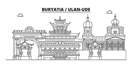 Russia, Buryatia, Ulan-Ude. City skyline: architecture, buildings, streets, silhouette, landscape, panorama, landmarks. Editable strokes. Flat design, line vector illustration concept. Isolated icons