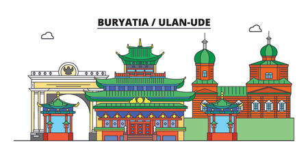 Russia, Buryatia, Ulan-Ude. City skyline: architecture, buildings, streets, silhouette, landscape, panorama. Flat line vector illustration. Russia, Buryatia, Ulan-Ude outline design. Ilustracja