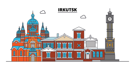 Russia, Irkutsk. City skyline: architecture, buildings, streets, silhouette, landscape, panorama. Flat line vector illustration. Russia, Irkutsk outline design.