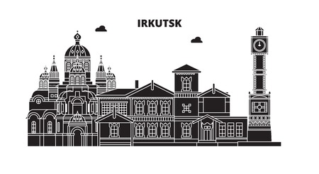 Russia, Irkutsk. City skyline: architecture, buildings, streets, silhouette, landscape, panorama. Flat line vector illustration. Russia, Irkutsk outline design.