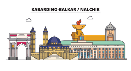 Russia, Kabardino-Balkar, Nalchik. City skyline: architecture, buildings, streets, silhouette, landscape, panorama. Flat line vector illustration. Russia, Kabardino-Balkar, Nalchik outline design.