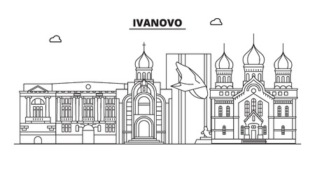Russia, Ivanovo. City skyline: architecture, buildings, streets, silhouette, landscape, panorama, landmarks. Editable strokes. Flat design, line vector illustration concept. Isolated icons