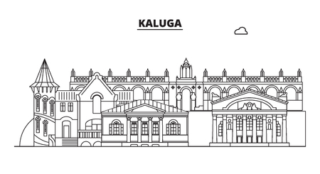Russia, Kaluga. City skyline: architecture, buildings, streets, silhouette, landscape, panorama, landmarks. Editable strokes. Flat design, line vector illustration concept. Isolated icons