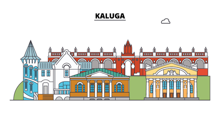 Russia, Kaluga. City skyline: architecture, buildings, streets, silhouette, landscape, panorama. Flat line vector illustration. Russia, Kaluga outline design.