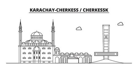 Russia, Karachay-Cherkess, Cherkessk. City skyline: architecture, buildings, streets, silhouette, landscape, panorama, landmarks. Editable strokes. Flat design line vector illustration concept