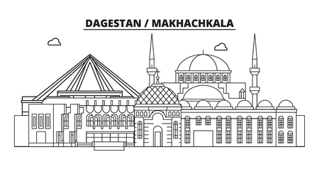 Russia, Makhachkala. City skyline: architecture, buildings, streets, silhouette, landscape, panorama, landmarks. Editable strokes. Flat design, line vector illustration concept. Isolated icons Banque d'images - 116432366