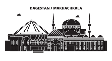 Russia, Dagestan, Makhachkala. City skyline: architecture, buildings, streets, silhouette, landscape, panorama. Flat line vector illustration. Russia, Dagestan, Makhachkala outline design.