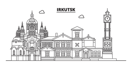 Russia, Irkutsk. City skyline: architecture, buildings, streets, silhouette, landscape, panorama, landmarks. Editable strokes. Flat design, line vector illustration concept. Isolated icons