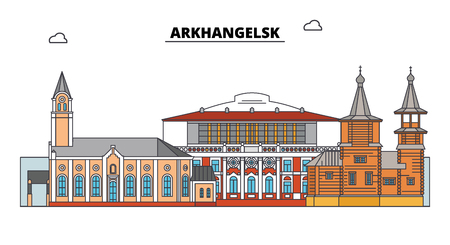 Russia, Arkhangelsk. City skyline: architecture, buildings, streets, silhouette, landscape, panorama. Flat line vector illustration. Russia, Arkhangelsk outline design.
