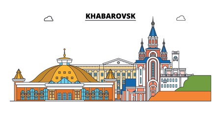 Russia, Khabarovsk. City skyline: architecture, buildings, streets, silhouette, landscape, panorama. Flat line vector illustration. Russia, Khabarovsk outline design. Ilustrace