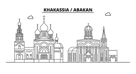 Russia, Khakassia, Abakan. City skyline: architecture, buildings, streets, silhouette, landscape, panorama, landmarks. Editable strokes. Flat design, line vector illustration concept. Isolated icons Banque d'images - 116432387