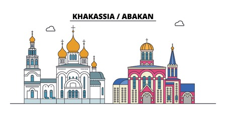 Russia, Khakassia, Abakan. City skyline: architecture, buildings, streets, silhouette, landscape, panorama. Flat line vector illustration. Russia, Khakassia, Abakan outline design.