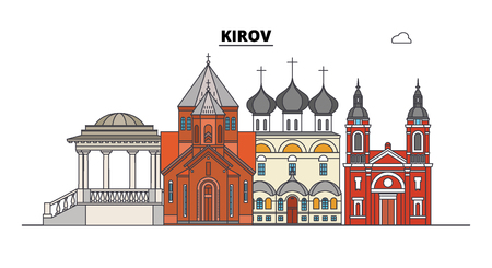 Russia, Kirov. City skyline: architecture, buildings, streets, silhouette, landscape, panorama. Flat line vector illustration. Russia, Kirov outline design.
