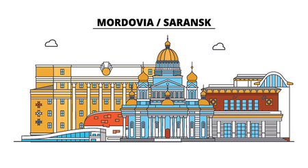 Russia, Mordovia, Saransk. City skyline: architecture, buildings, streets, silhouette, landscape, panorama. Flat line vector illustration. Russia, Mordovia, Saransk outline design.