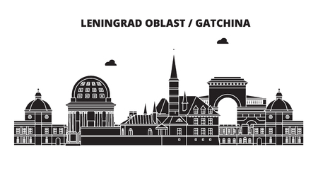 Russia, Leningrad Oblast, Gatchina . City skyline: architecture, buildings, streets, silhouette, landscape, panorama. Flat line vector illustration. Russia, Leningrad Oblast, Gatchina  outline design.