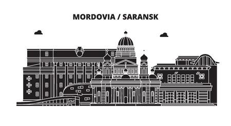 Russia, Mordovia, Saransk. City skyline: architecture, buildings, streets, silhouette, landscape, panorama. Flat line vector illustration. Russia, Mordovia, Saransk outline design.