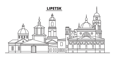 Russia, Lipetsk . City skyline: architecture, buildings, streets, silhouette, landscape, panorama, landmarks. Editable strokes. Flat design, line vector illustration concept. Isolated icons