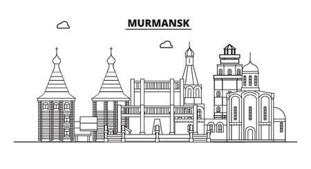 Russia, Murmansk. City skyline: architecture, buildings, streets, silhouette, landscape, panorama, landmarks. Editable strokes. Flat design, line vector illustration concept. Isolated icons Banco de Imagens - 116432480