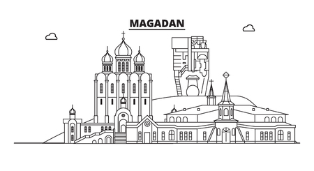 Russia, Magadan. City skyline: architecture, buildings, streets, silhouette, landscape, panorama, landmarks. Editable strokes. Flat design, line vector illustration concept. Isolated icons