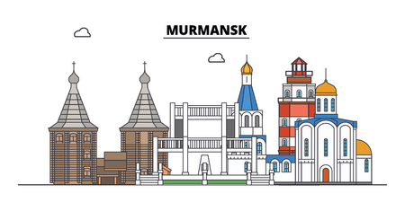 Russia, Murmansk. City skyline: architecture, buildings, streets, silhouette, landscape, panorama. Flat line vector illustration. Russia, Murmansk outline design.