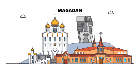Russia, Magadan. City skyline: architecture, buildings, streets, silhouette, landscape, panorama. Flat line vector illustration. Russia, Magadan outline design. Illustration