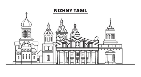 Russia, Nizhny Tagil. City skyline: architecture, buildings, streets, silhouette, landscape, panorama, landmarks. Editable strokes. Flat design, line vector illustration concept. Isolated icons