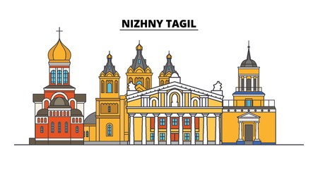 Russia, Nizhny Tagil. City skyline: architecture, buildings, streets, silhouette, landscape, panorama. Flat line vector illustration. Russia, Nizhny Tagil outline design. Ilustrace