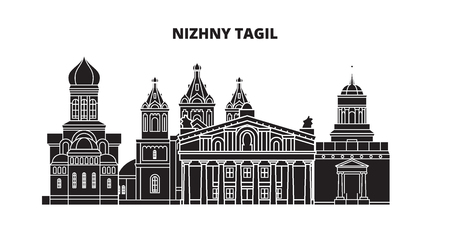 Russia, Nizhny Tagil. City skyline: architecture, buildings, streets, silhouette, landscape, panorama. Flat line vector illustration. Russia, Nizhny Tagil outline design. Illusztráció