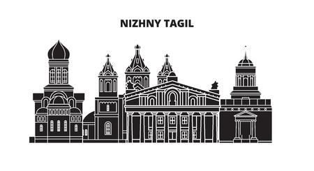 Russia, Nizhny Tagil. City skyline: architecture, buildings, streets, silhouette, landscape, panorama. Flat line vector illustration. Russia, Nizhny Tagil outline design. Illustration