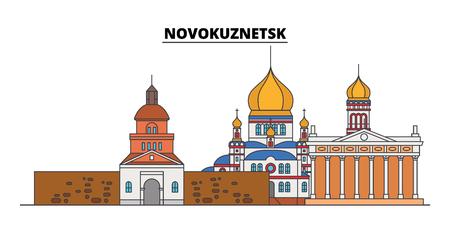Russia, Novokuznetsk. City skyline: architecture, buildings, streets, silhouette, landscape, panorama. Flat line vector illustration. Russia, Novokuznetsk outline design.