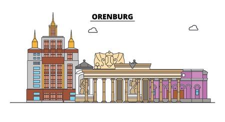 Russia, Orenburg. City skyline: architecture, buildings, streets, silhouette, landscape, panorama. Flat line vector illustration. Russia, Orenburg outline design.