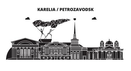 Russia, Karelia, Petrozavodsk. City skyline: architecture, buildings, streets, silhouette, landscape, panorama. Flat line vector illustration. Russia, Karelia, Petrozavodsk outline design. Ilustração