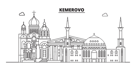 Russia, Kemerovo. City skyline: architecture, buildings, streets, silhouette, landscape, panorama, landmarks. Editable strokes. Flat design, line vector illustration concept. Isolated icons