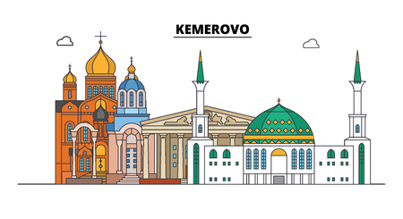 Russia, Kemerovo. City skyline: architecture, buildings, streets, silhouette, landscape, panorama. Flat line vector illustration. Russia, Kemerovo outline design. 向量圖像