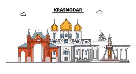 Russia, Krasnodar. City skyline: architecture, buildings, streets, silhouette, landscape, panorama. Flat line vector illustration. Russia, Krasnodar outline design.