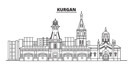 Russia, Kurgan. City skyline: architecture, buildings, streets, silhouette, landscape, panorama, landmarks. Editable strokes. Flat design, line vector illustration concept. Isolated icons Banque d'images - 116432819