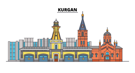 Russia, Kurgan. City skyline: architecture, buildings, streets, silhouette, landscape, panorama. Flat line vector illustration. Russia, Kurgan outline design.