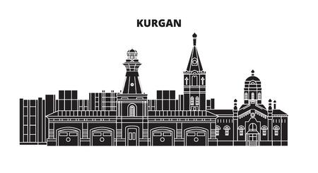 Russia, Kurgan. Skyline della città: architettura, edifici, strade, silhouette, paesaggio, panorama. Illustrazione vettoriale di linea piatta. Russia, disegno di contorno di Kurgan.