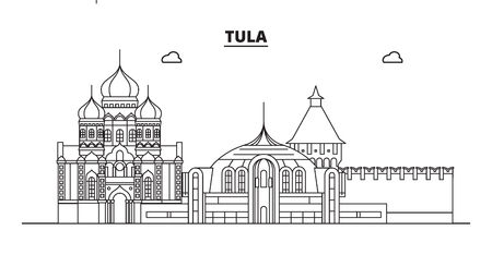 Russia, Tula. City skyline: architecture, buildings, streets, silhouette, landscape, panorama, landmarks. Editable strokes. Flat design, line vector illustration concept. Isolated icons