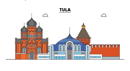 Russia, Tula. City skyline: architecture, buildings, streets, silhouette, landscape, panorama. Flat line vector illustration. Russia, Tula outline design.