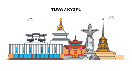 Russia, Tuva, Kyzyl. City skyline: architecture, buildings, streets, silhouette, landscape, panorama. Flat line vector illustration. Russia, Tuva, Kyzyl outline design.