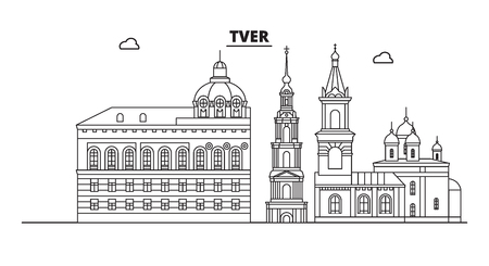 Russia, Tver. City skyline: architecture, buildings, streets, silhouette, landscape, panorama, landmarks. Editable strokes. Flat design, line vector illustration concept. Isolated icons Banco de Imagens - 125803988