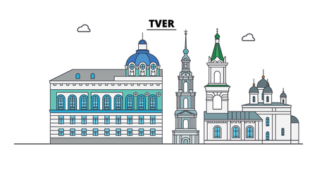 Russia, Tver. City skyline: architecture, buildings, streets, silhouette, landscape, panorama. Flat line vector illustration. Russia, Tver outline design.