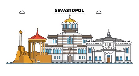 Russia, Sevastopol. City skyline: architecture, buildings, streets, silhouette, landscape, panorama. Flat line vector illustration. Russia, Sevastopol outline design.